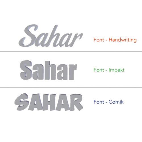 Verschiedene Schriftarten für den personalisierten Dämpfer