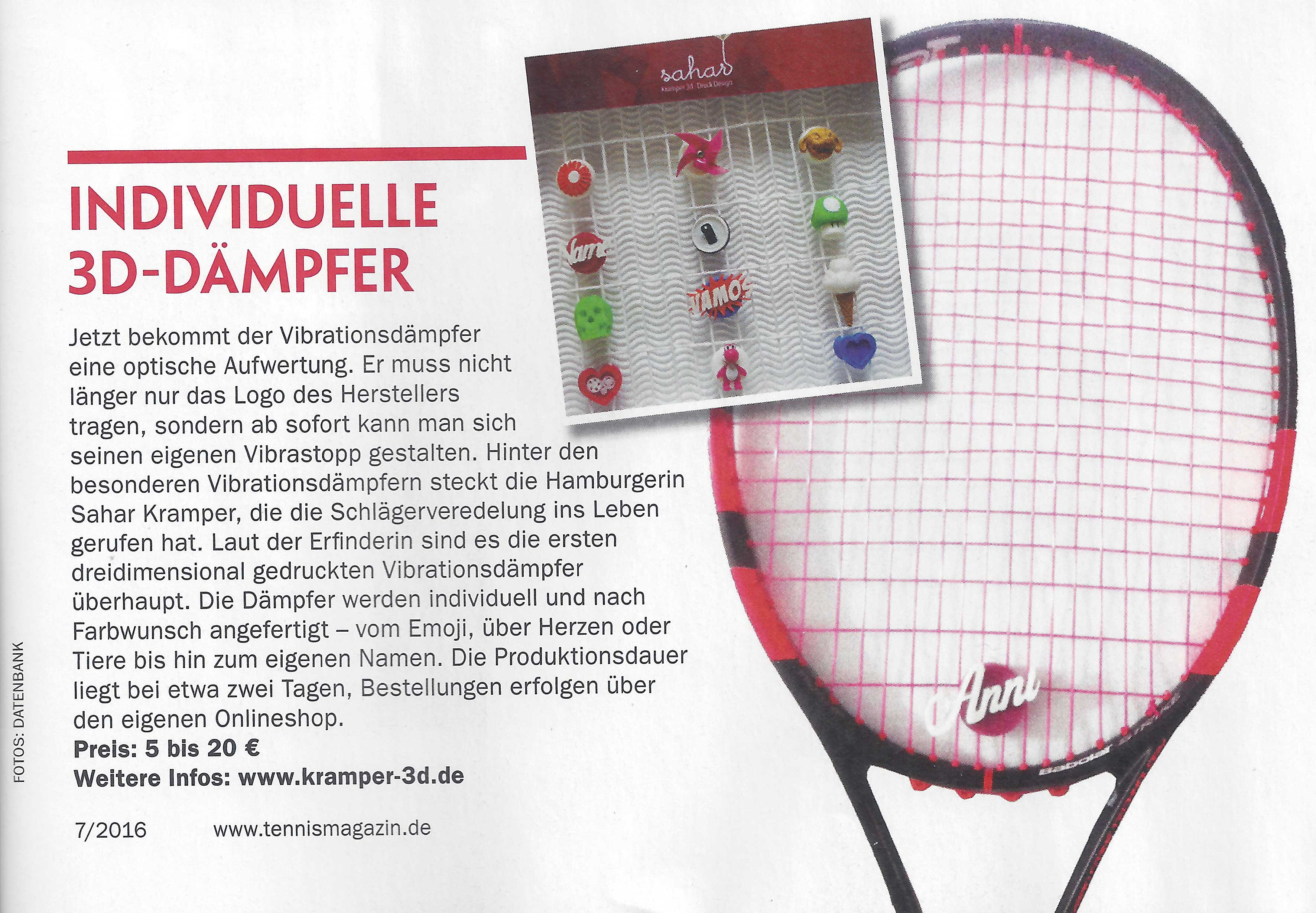 tennismagazin 3D Druck Tennis Dämpfer